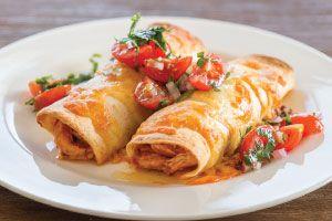 Chicken + corn enchiladas